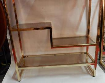 Antique 1970' Shelf In Golden Metal  Pierre Vandel Style Paris