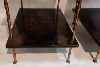 Antique 1950 ' Pair of Tables Maison Bagués Bronze Style Bamboo Golden With Trays Lacquers of China