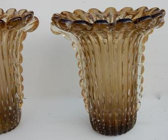Antique 1970' Pair Of Cristal Murano Urns And Gold sign Toso