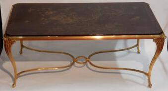 Antique 1940/50 Coffee Table Tray Lacquer of China Maison Bagués in Gilted Bronze Deco