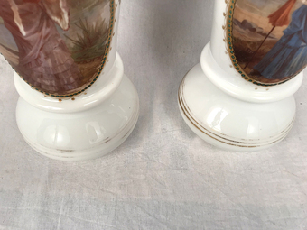 Antique PAIR OF OPALESCENT VASES