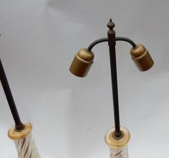 Antique 1950/70  Pair of Lamps in Murano Glass With Gold Inside Seguso Di Murano Signed