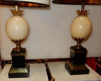 Antique 1950/70 Pair Of Lamps Black Marble and Ostrich Egg Maison Jansen