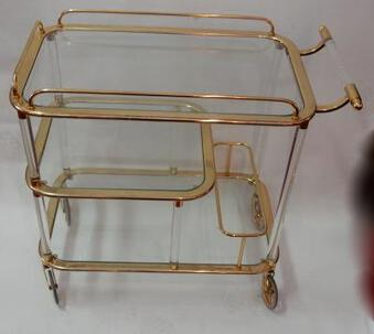 Antique 1970'  Rolling Bar Lucite and Gilted Iron