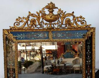 Antique 1880/1900 Venitian And Gilted Bronze Mirror With Pediment -Black  Color Glass Support Adorned with Flowers 137 X 83 cm