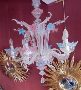Antique 1970'  Chandelier Murano Blue And Pink Colour 6 lights