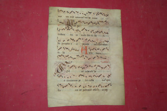Antique 17th CENTURY ANTIPHONARY PAGE
