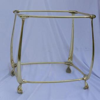 Antique 1970/80 'Pair of Gilt Bronze Tables in 2 Levels In The Style of Art Nouveau Trays Glass and Opaline 52 X 37 cm