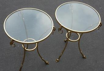 Antique 1970/80 Pedestal Pair  in Gilt  Bronze with Top in Glass Maison Charles It Diam 60