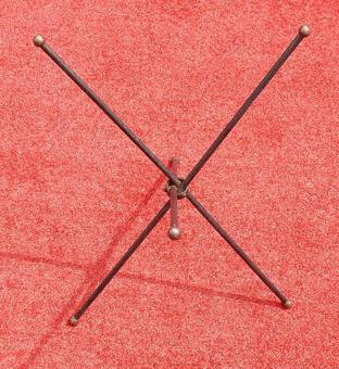 Antique 1950/70's Jacques Adnet Brass Tripod  Folding Pedestal or Travel Table With Glass Tray