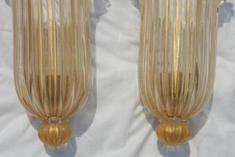 Antique 1970' Murano Sconces Pair By Archiméde Seguso