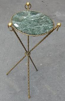 Antique 1880 'Pedestal Tripod Decor Bamboo Brass with Green Marble Veined Tray In The Style of Giroux