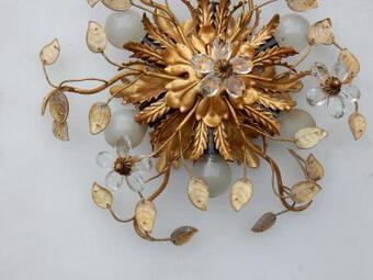 Antique 1970' Pair Of  Ceiling Light or Wall Lamp with Flowers and Leaves in the Style of Maison Bagués With Leaves