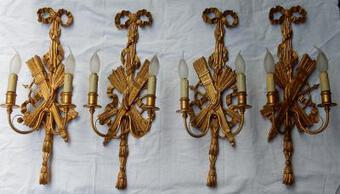 Antique 1950/70' 2 Pair of Sconces to The Golden Wood and Golden Iron