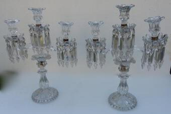 Antique 1950'Pair of Baccarat Chandeliers With 2 Arms Pearl Socks