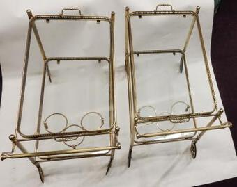 Antique 1950/70 Pair Of Rolling Bar In Brass Maison Bagués  in The Style of  L XVI