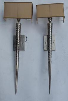 Antique 1970's Pair of Unicorn Nickle-Plated Brass Wall Lamps in the Style of Maison Charles