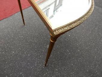 Antique 1970's Maison Charles Golden Brass Tripartite Table With Oxyded Mirror Trays