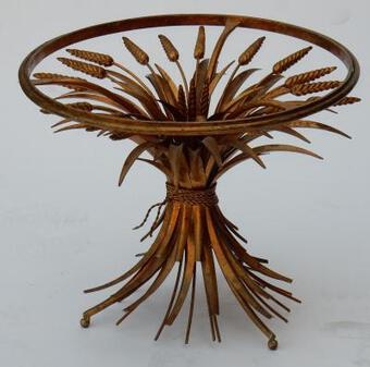 Antique 1970's Wheat Sheaf Table With Belt and Glass Tray in the of Style Coco Chanel