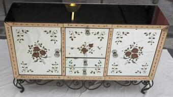 Antique 1950/70'  Sideboard Mirror with eglomisées flowers