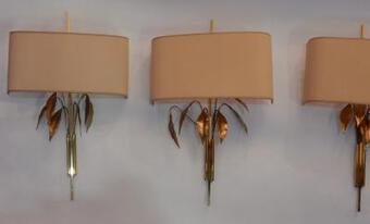 Antique 1970 ' 4 Wall Lamp  Maison Charles to the Foliages of Laurel