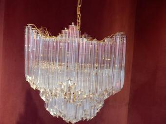 Antique 1970' Chandelier Venini  148 Cristals rystals