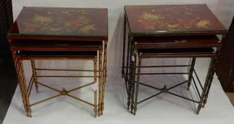 Antique 1950/70' Pair of Series of 3 Nesting Tables in The Style of Maison Bagués Deco Bamboo  in Bronze With  Top Red  China Lacq With Landscape And Bird