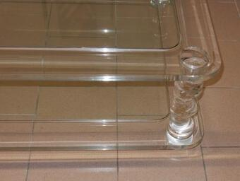 Antique 1970' Coffee Table in Lucite ROMÉO  Size  1m00 X 1m00  + 2 Ends of Sofa Same Model
