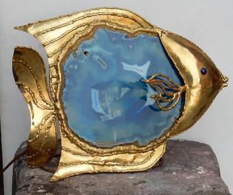 Antique 1970' Fish Lamp With Blue Agate Style Duval Brasseur Enlightening