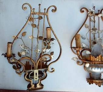Antique 1970' Pair Wall Lamp Deco Chinese in the Style of  Maison Bagués