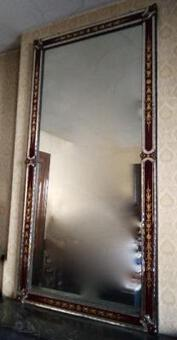 Antique 1900' Venice Mirror with Eglomised Flowers Patterns