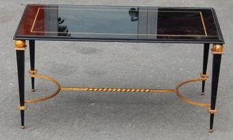 Antique 1950 'Coffee Table Iron Painted and Gilded Gold In The Style of G Poillerat