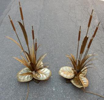 Antique 1970 'Pair Of Lamps Reeds  Style Maison Jansen in Brass