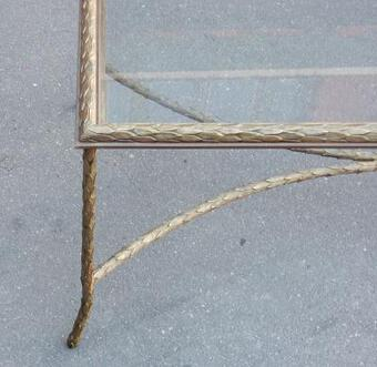 Antique 1950/70' Coffee Table Maison Charles, Top In Glass 105 X 50 cm