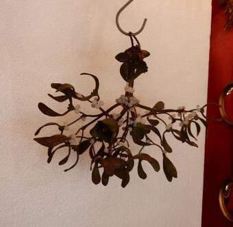 Antique 1900'  Ball of Mistletoe Art Nouveau Bronze has 2 Bulbs and Pearls Opaline  Diameter 34 cm
