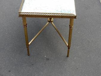 Antique 1970 'Bronze Coffee Table Maison Bagués With Spacer With Oxidized Mirror Tray 90 X 45 cm