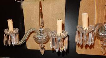 Antique 1940/50 'Pair Of Baccarat Crystal Dagger Sconces