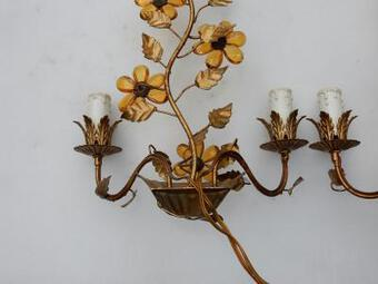 Antique 1970' Pair Of Wall Lamp  in the Style of Maison Bagués With Orange Color Flowers