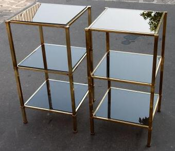 Antique 1970 'Pair of Shelves Guy Lefevre Brass With Smoked Windows and Mirrors