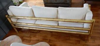 Antique 1970 'Sofa 3 Seater Maison Jansen Brass Model Bamboo