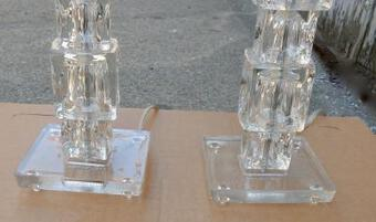 Antique 1970/80' Pair of Lamps in Glass Style Design
