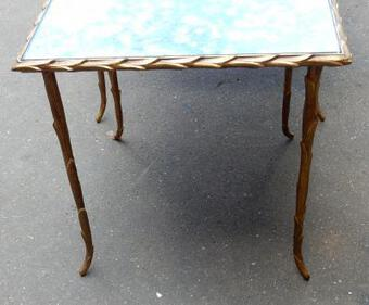 Antique 1950/70 Series of 3 gicognes tables Modél Palm Tree Maison Charles