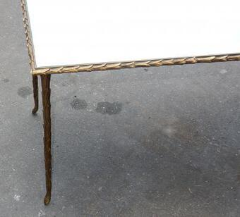 Antique 1950/70' Coffee Table Maison Charles, Top In Glass 87 X 37 cm