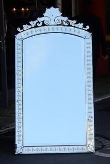 Antique 1880/1900 'Venice Vertical Mirror with Bubbles and Flowers 171 x 89.5 cm
