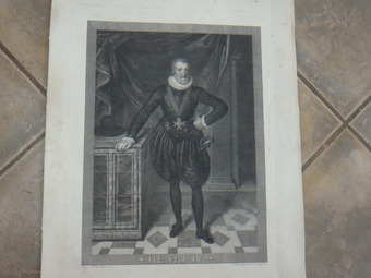Antique 19th CENTURY ETCHING OF HENRI IV