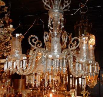 Antique 1880/1900 Chandelier Baccarat 8 Arms With Tealight Holders + 4 With Tulips