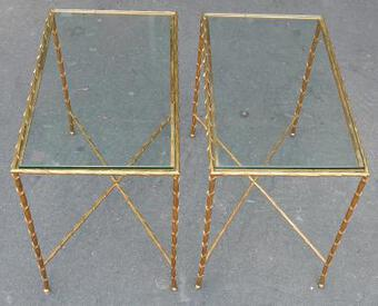 Antique 1970 Pair Of Tables in Bronze Maison Charles 63 X 38 cm