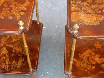 Antique 1950/70'  Pair of End of Sofa in the Style of Maison Bagués Lacquer of China 45 X34 cm