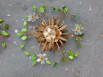 Antique 1970' 2 Ceiling Light or Wall Lamp with Flowers and Leaves in the Style of Maison Bagués With Green Color Leaves