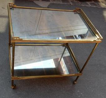 Antique 1950/70 Rolling Bar Gilded Brass Maison Jansen